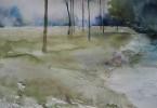 Au pied du talus... - aquarelle 76 x 56 cm