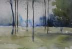 Bleu de forêt - aquarelle 76 x 56 cm