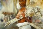 Femme aux fleurs - aquarelle 44 x 33 cm