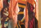 Femmes aux pagnes - huile sur toile 15 x 30 cm