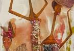 Femmes Peule au marché (détail) - huile sur toile 30 x 110