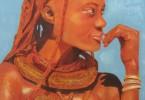 Himba au collier - huile sur toile 60 x 80 cm