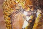 Léopard bondissant - aquarelle 45 x 35 cm