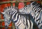 Les zèbres voient rouge - aquarelle 55 x 45 cm