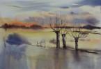 Météo : verglas & temps froid - aquarelle 35 x 25 cm