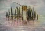 Pêcheur sur le Tonlé sap - huile sur toile 80 x 60 cm