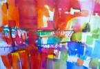 Strates colorées - aquarelle 40 x 30 cm