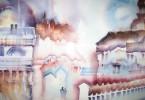 Imaginons la ville - aquarelle 35 x 25 cm - collection privée