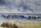 La côte Belge - aquarelle 35 x 25 cm