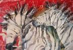 Les zèbres voient rouge - huile 80 x 60 cm - collection privée