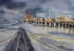 Ponton en mer du Nord agitée - aquarelle 35 x 25 cm