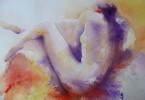 Repos du bain - aquarelle 53 x 36 cm