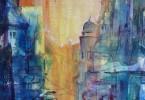 Silhouette urbaine - acrylique sur toile 23 x 23 cm