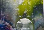 Sous le pont brille nos amours - aquarelle 35 x 25 cm