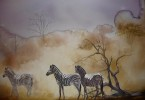 Zèbres en savane - aquarelle 60 x 40 cm